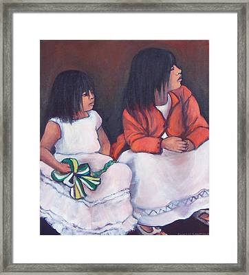 Young Mexican Girls At The Independence Parade  Framed Print