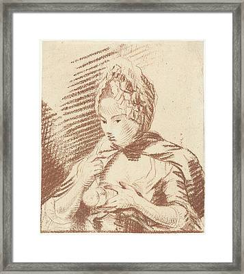 Young Mother Feeding Her Child With Bottle Framed Print by Louis Bernard Coclers