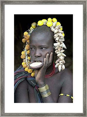 Young Mursi Girl With Lip Plate Inserted Framed Print by Tony Camacho