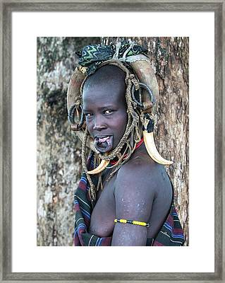 Young Mursi Girl Without Lip Plate Framed Print by Peter J. Raymond