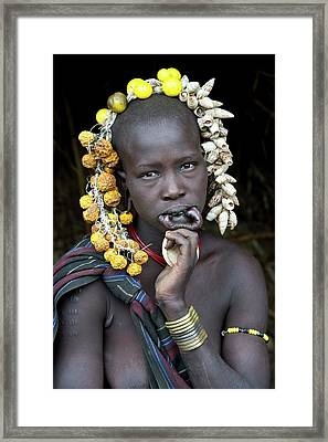 Young Mursi Girl Without Lip Plate Framed Print by Tony Camacho