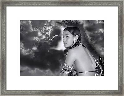 Young Native American Bw  Framed Print