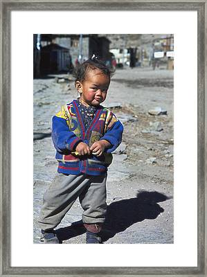 Young Nepalese Girl In Manang Framed Print by Richard Berry
