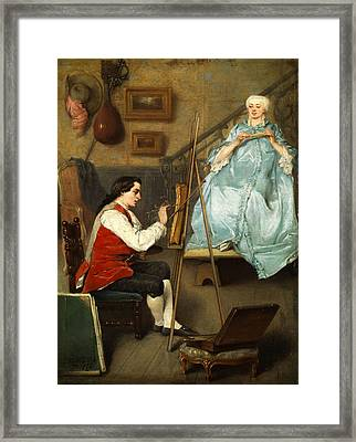 Young Painter Portraiting A Young Woman In A Blue Silk Dress Framed Print by Eugene Fichel