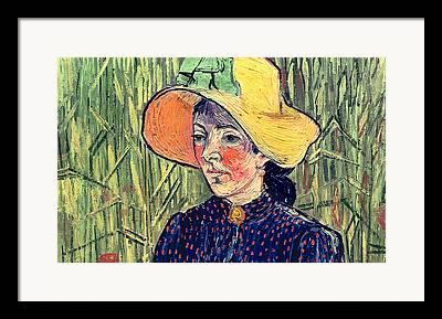 Girl In Wheat Field Paintings Framed Prints