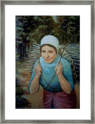 Framed Print featuring the painting Young Farmer by Laila Awad Jamaleldin