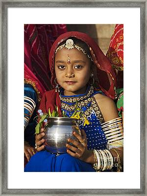 Young Rajathani At Mewar Festival - Udaipur India Framed Print