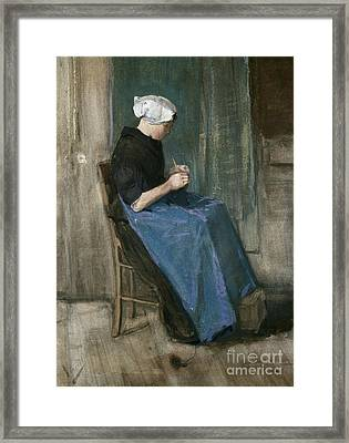 Young Scheveningen Woman Knitting Facing Right Framed Print by Vincent van Gogh