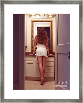 Young Sexy Woman At A Bathroom Mirror Framed Print by Oleksiy Maksymenko