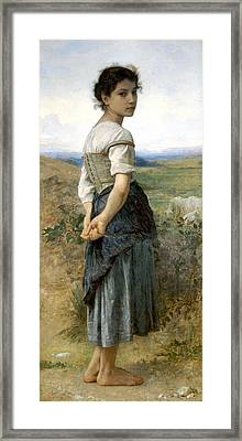 Young Shepherdess Framed Print by William Bouguereau