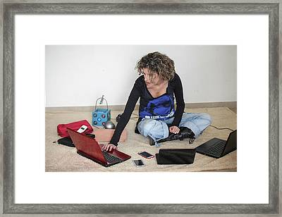 Young Stylish Woman Works From Home Framed Print