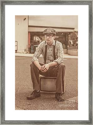Young Vintage Man Seated On Old Tv Framed Print