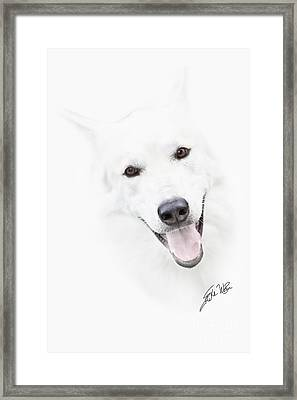 Framed Print featuring the digital art Young Wolf by Erika Weber