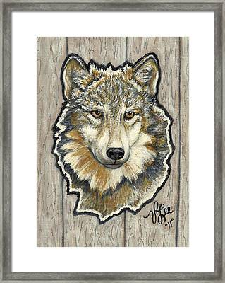 Framed Print featuring the painting Young Wolf by VLee Watson
