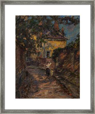 Young Woman And Child In An Alley  Framed Print by Henri Duhem