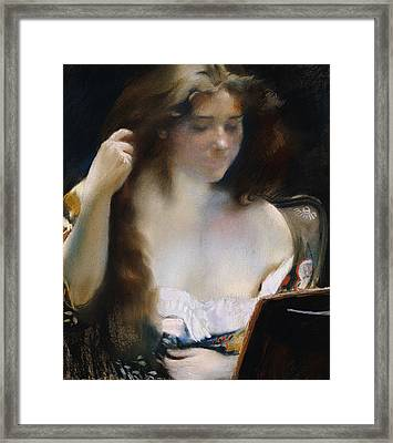 Young Woman At Her Toilet Framed Print by Paul Albert Besnard