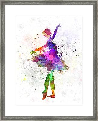Young Woman Ballerina Ballet Dancer Dancing With Tutu Framed Print by Pablo Romero