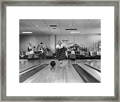 Young Woman Bowling Framed Print