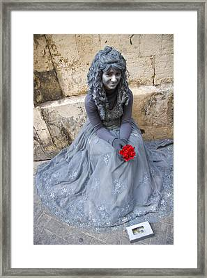 Young Woman Busker In Syracusa Sicily Framed Print by David Smith