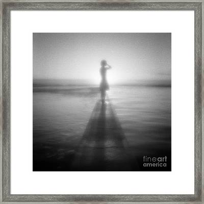 Young Woman By Pool At Sunrise Framed Print by Colin and Linda McKie