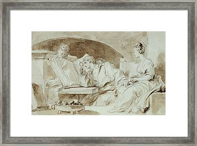 Young Woman Consulting A Necromancer Framed Print by Jean-Honore Fragonard