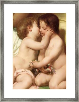 Young Woman Contemplating Two Embracing Children Detail II Framed Print by William Bouguereau