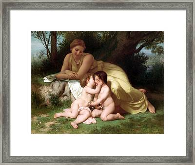 Young Woman Contemplating Two Embracing Children Framed Print by Munir Alawi