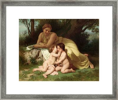 Young Woman Contemplating Two Embracing Children Framed Print by William Bouguereau