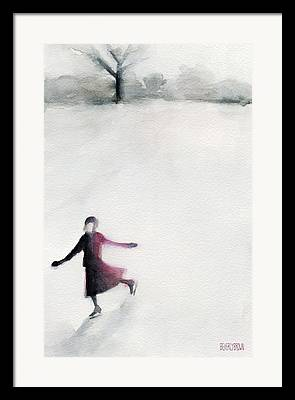 Winter Watercolor Paintings Framed Prints