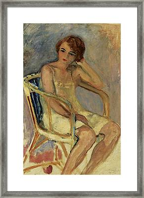 Young Woman In A Chair Framed Print by Henri Lebasqe