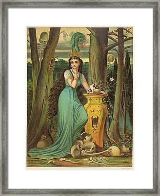 Young Woman In A Green Dress Framed Print by British Library