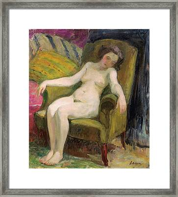 Young Woman In An Armchair Framed Print by Henri Lebasqe