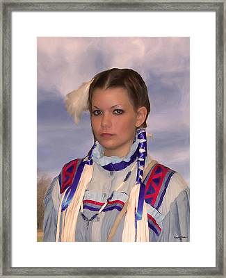 Young Woman In Blue Framed Print