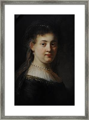 Young Woman In Fantasy Costume, 1633, By Rembrandt 1606-1669 Framed Print