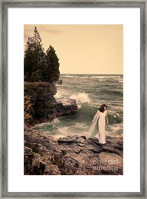 Young Woman In Nightdress By The Sea Framed Print by Jill Battaglia