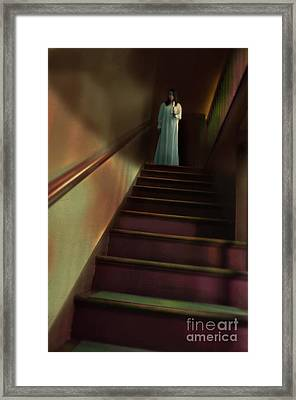 Young Woman In Nightgown On Stairs Framed Print by Jill Battaglia