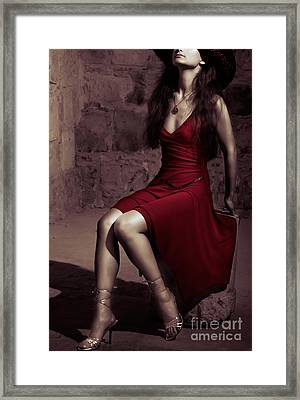 Young Woman In Stone Cell Framed Print by Oleksiy Maksymenko