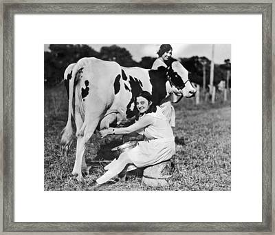 Young Woman Milking A Cow Framed Print by Underwood Archives
