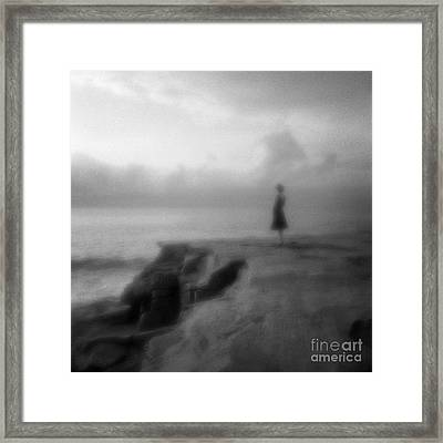 Young Woman On Cliff In Early Morning Framed Print