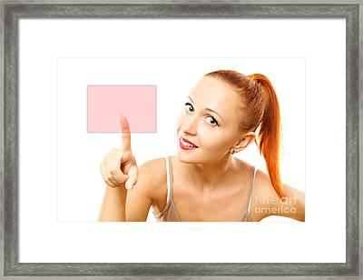 Young Woman Pressing Virtual Button Framed Print by Nikita Buida