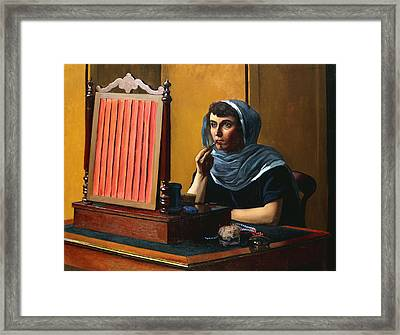 Young Woman Putting On Lipstick Framed Print by Felix Edouard Vallotton