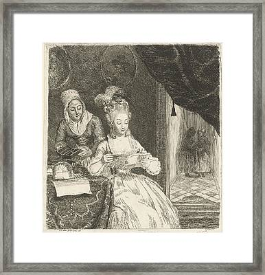 Young Woman Reading A Letter, Louis Bernard Coclers Framed Print