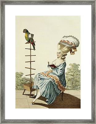 Young Woman Reading In A Day Dress Framed Print by Claude Louis Desrais
