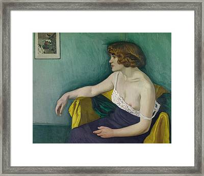 Young Woman Seated In Profile Framed Print by Felix Edouard Vallotton