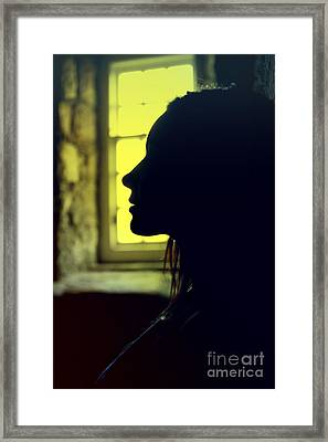 Young Woman Silhouetted Profile Framed Print