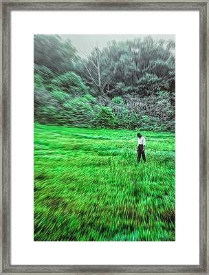 Young Woman Standing In A Field Framed Print
