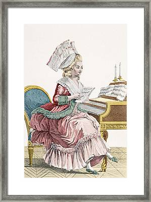 Young Woman Studying Music Framed Print by Pierre Thomas Le Clerc