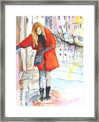Young Woman Walking Along Venice Italy Canal Framed Print