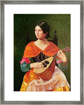 Young Woman With A Mandolin Framed Print