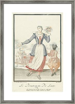 Young Woman With Bunch Of Flowers, Print Maker Pieter Van Framed Print
